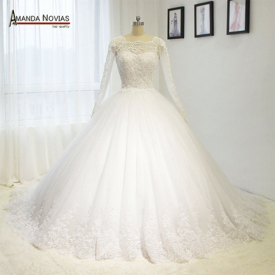 Full Sleeve Wedding Gown: 2017 Hot Sale Robe De Mariee Full Sleeve Lace Appliques