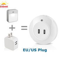 Oobest Smart Design LED Night Light With Light Sensor And Dual USB Wall Plate Charger Perfect