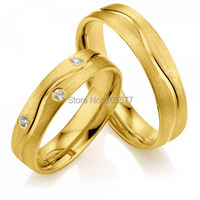 Gold Plating CZ diamonds handmade titanium stainless steel engagement wedding rings sets anel