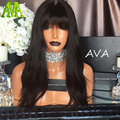 Beauty Brazilian Human Hair Natural Straight with bangs Wigs 100% Vigin Hair Full Lace Human Hair Wigs For Women Lace Front Wigs