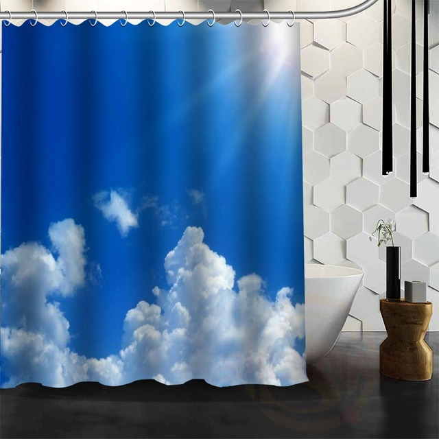 Best Nice Custom Blue Sea Sky Clouds Shower Curtain Bath Waterproof Fabric For Bathroom MORE SIZE WJY14
