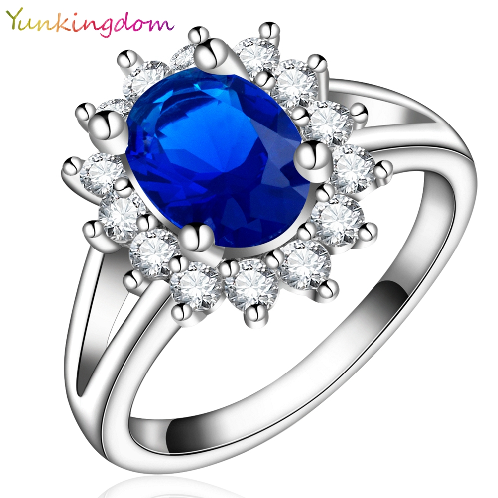Yunkingdom NEW White Gold Plated Princess Ring Cubic Zirconia Fashion Bride's Wedding Rings zircon crystal jewelry - yunkingdom Official Store store