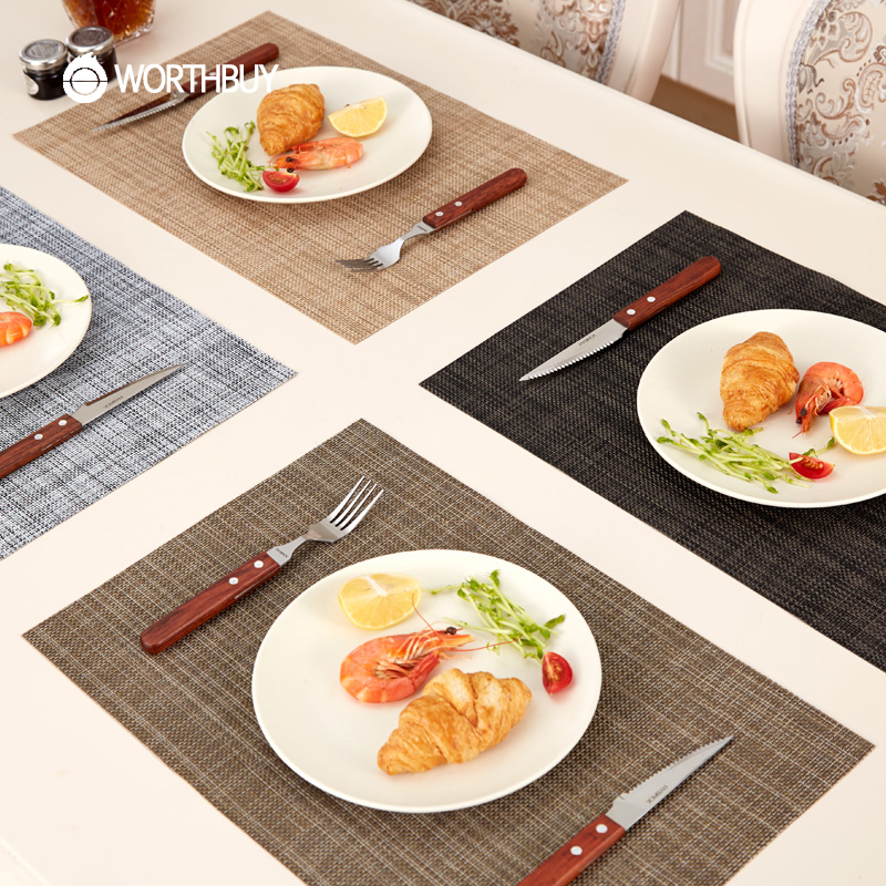 WORTHBUY 1 Pcs PVC Placemat Non-Slip Plastic Table Mat Water-proof Dining Place Mats Plate Dish Pads Coaster Kitchen Accessories ...