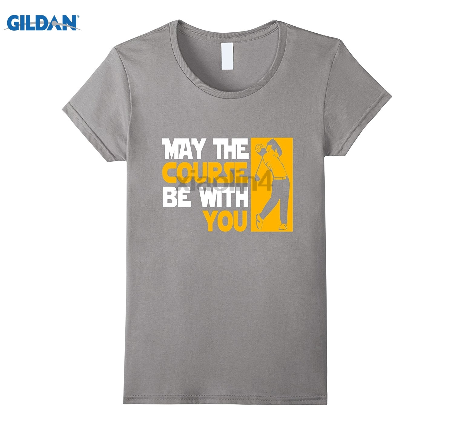 GILDAN May The Course Be With You Funny Golfing T-Shirt Divers Scuba Youth Pure Round Neck T-Shirt Mothers Day Ms. T-shirt