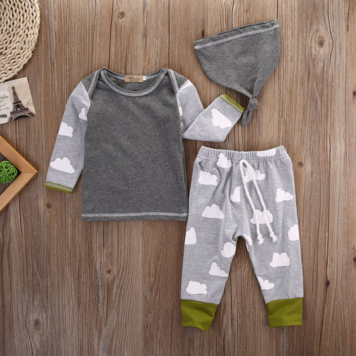 Fashion Newborn Baby Girls Boys Clothes Cloud T-shirt Tops+Pants Leggings Casual Hat Cotton Outfits Set 3pcs Clothing Set 3pcs set newborn baby boys girls clothes set tops rompers cotton pants leggings hat outfits clothing baby boy 0 18m
