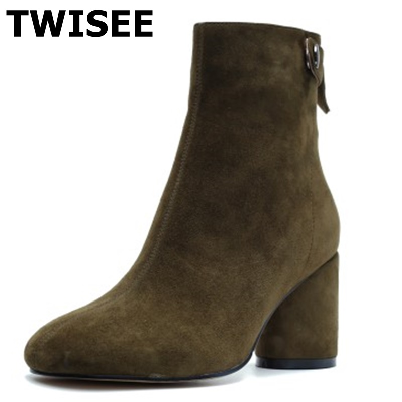 TWISEE  Round Toe genuine leather Kid Suede women ankle boots  Strange Style heel brand women shoes causal motorcycles boot fashion square toe lace up genuine leather solid nude women ankle boots thick heel brand women shoes causal motorcycles boot l74