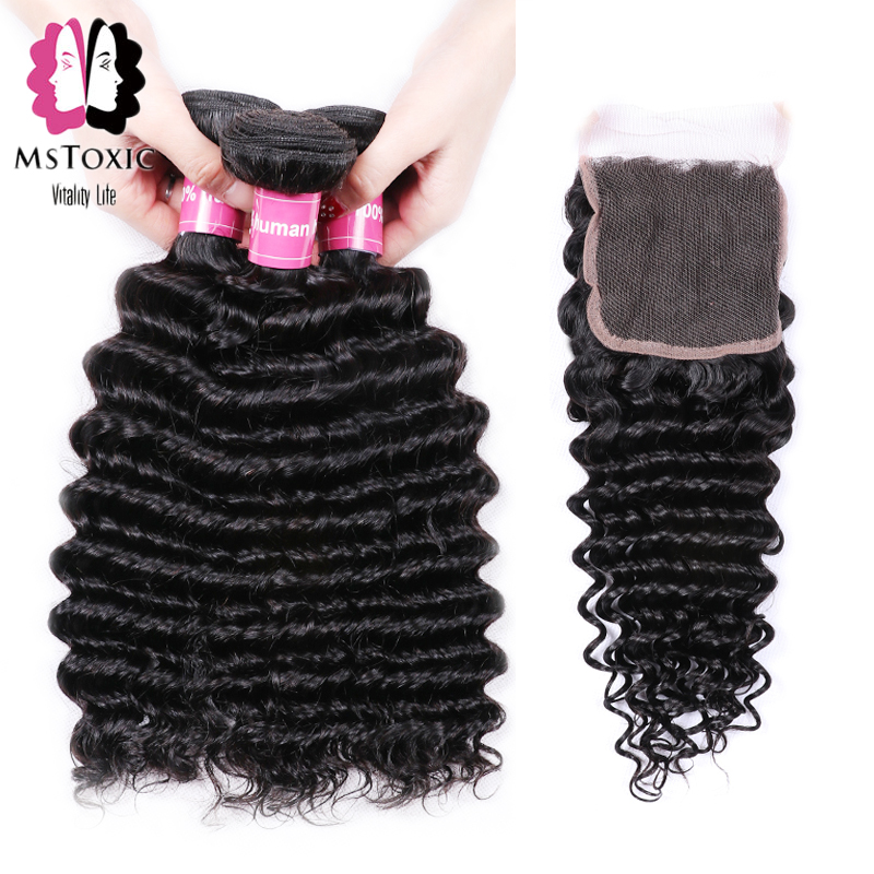 Mstoxic Peruvian Deep Wave 3 Bundles With Cloure Non Remy Natural color Human Hair Weave Bundles With Closure Hair Extensions