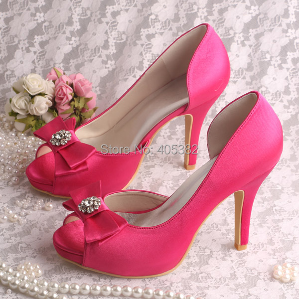 Wedopus Brand Name Ladies Hot Pink Heels Wedding Shoes Open Toe Bow Platforms