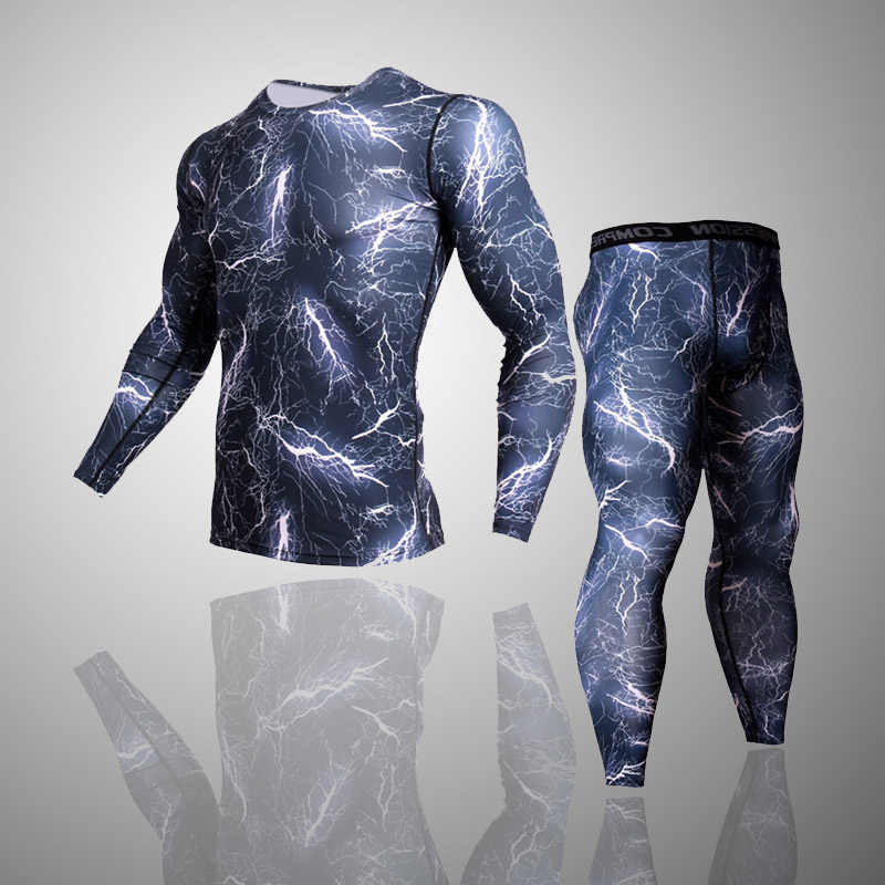 men's sportswear fitness men compression top long sleeve camouflage clothing   leggings Rash Guard men MMA sport undershirt 3XL