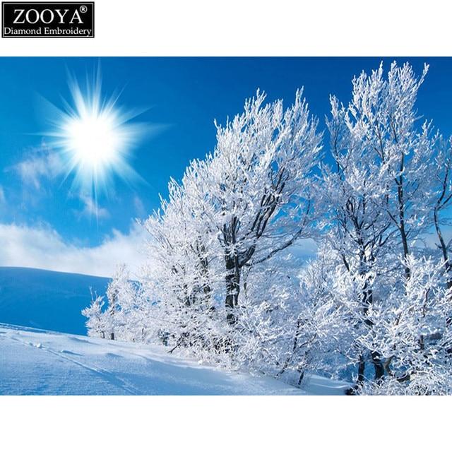 Zooya 5D DIY алмаз вышивка зима дерево Пейзаж алмазов картина вышивки крестом полный квадрат горный хрусталь мозаичные украшения
