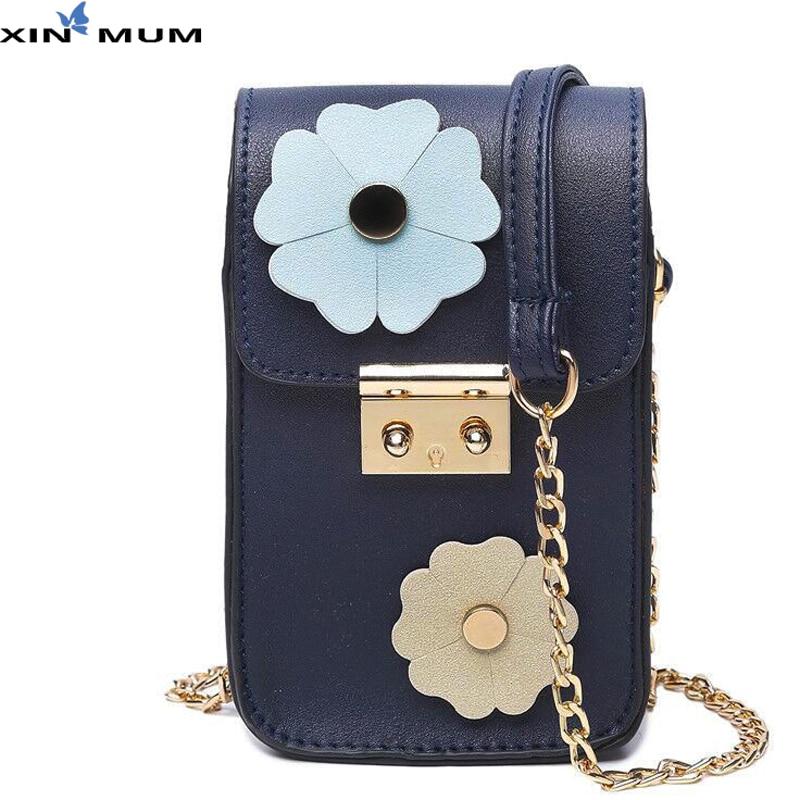XIN MUM Fashion Women Flower Mobile Phone Bag Coin Purse Mini Square Handbag Shoulder Messenger Mobile Bags