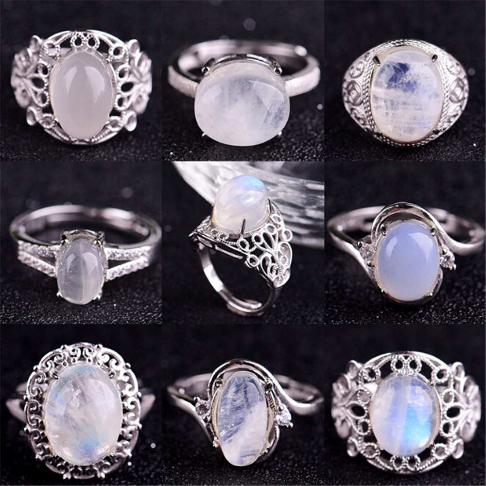 HFANCYW Natural Blue Moonstone Ring Genuine 925 Silver Inlay Gemstone Fashion Female Reiki Crystal Ring Valentine's Day Gifts