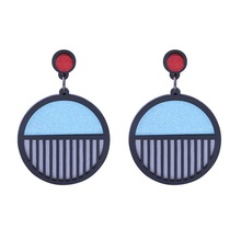 Hollow Geometric Round Earrings in Stud For Women Acrylic Fashion Trendy Jewelry