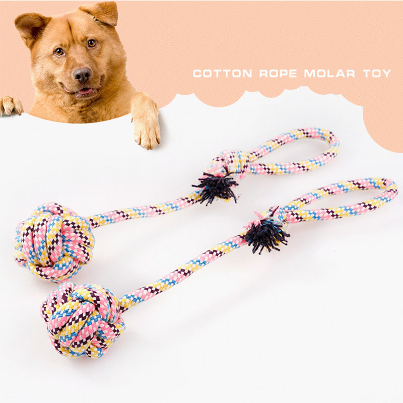 HRK dreams Store 1 Piece Colorful Pets Cotton Rope Toy Solid With Suspension Link Large Dogs Tug-of-war Toys Cloth Weaven Molar Teeth Toys
