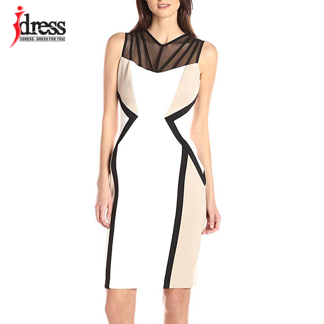 805df1b5ee8ef US $13.69 20% OFF|IDress Hot Office Work Dress Mesh Patchwork Bodycon Dress  Sexy Clubwear White Black Dresses Party Vintage Printed Bandage Dress-in ...