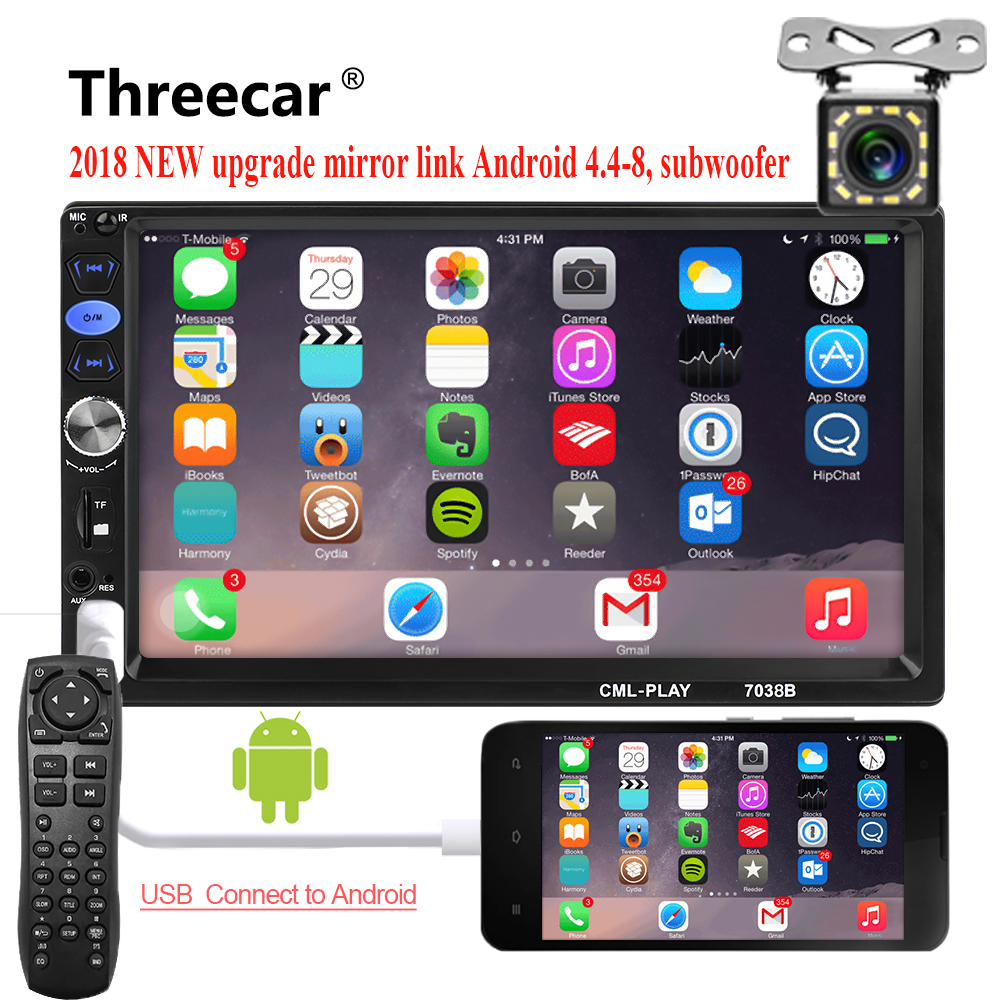 2din автомобиля Радио 7 Android mirrorlink Autoaudio для сабвуфера MP5 плеер авторадио Bluetooth заднего вида камера клейкие ленты регистраторы