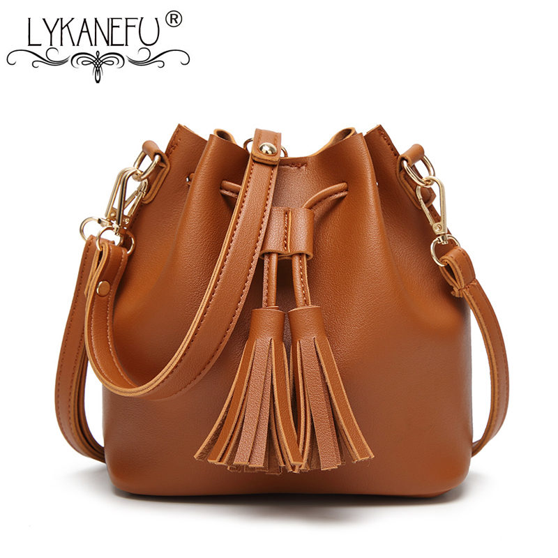 LYKANEFU Bucket Handbag Women Bag PU Leather Messenger Bags with Long belt Strap Shoulder Bag Cross Body Lady Purse Casual new arrival fashion women leather tassels handbag cross body single shoulder bucket bag lady girls vintage messenger bags bolsa
