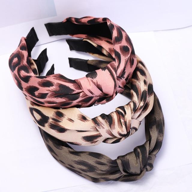 Cor do vintage Boêmio Padrão de Leopardo Cetim Hairband Atada Nó Acessórios Para o Cabelo Headband personalizado