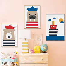 Modern Nordic Sailor Animals Cute Cartoon Seals Bear Fish Boat Canvas Painting Art Print Poster Wall Paintings Home Decoration