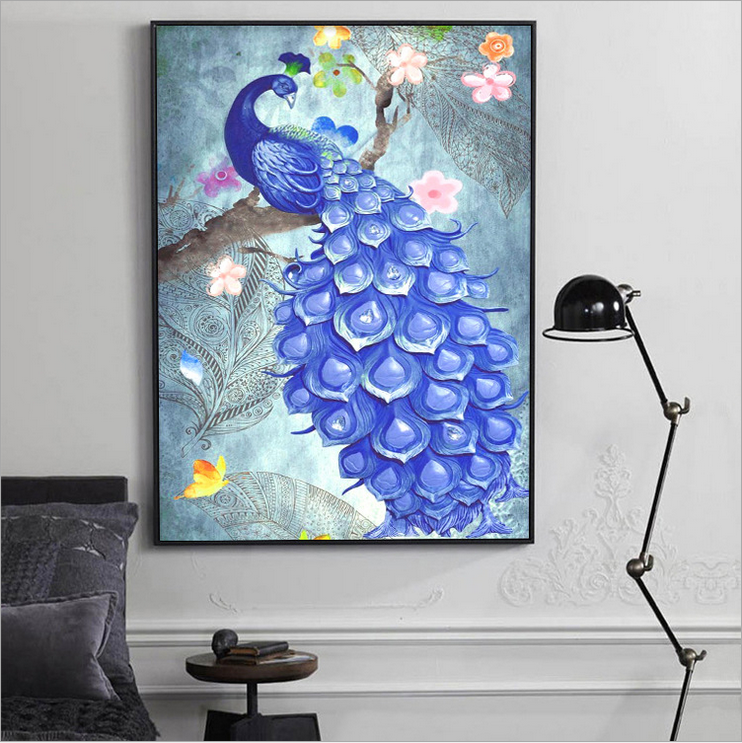 DIY 5D full suqare diamond painting peacock, inlaid with a Round Full Diamond Cross Stitch suite, home decoration