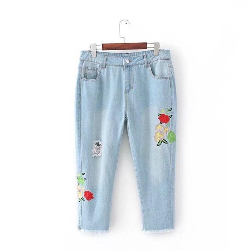 Plus size Embroidery hole Ankle length women jeans pants 2017 casual ladies Denim cargo pants pockets jeans female 4XL plus size clothing suspenders mm women jeans 2016 ankle length braces denim trousers female hole bib pants
