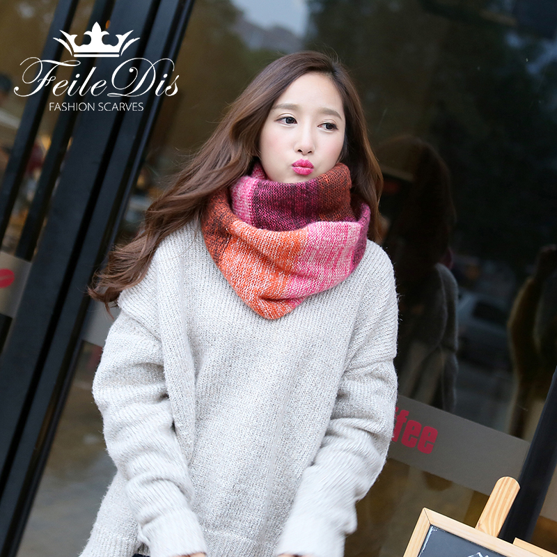 [FEILEDIS]2017 New Fashion Mix colors Ring Women scarves Knitted Wool Neck Cowl Wrap shawl winter warm Ring Loop scarf FD194