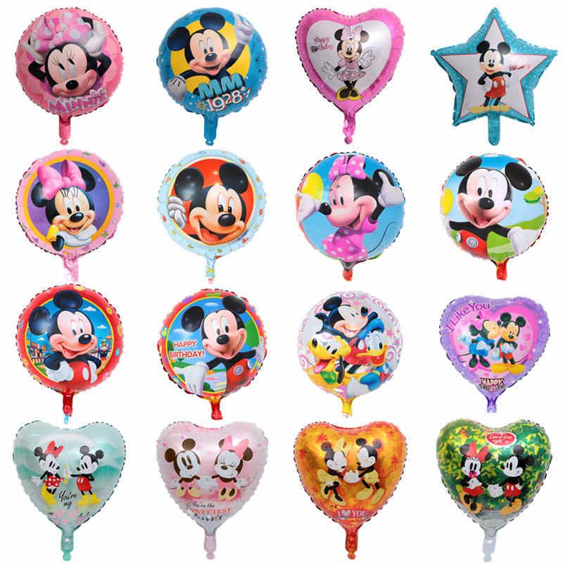 ใหม่ 18 นิ้ว Disney การ์ตูนฟอยล์บอลลูนตัวเลข Racing รถ Mickey Minnie Mouse รูปลูกโป่งเด็กเด็กวันเกิดของเล่นของขวัญ