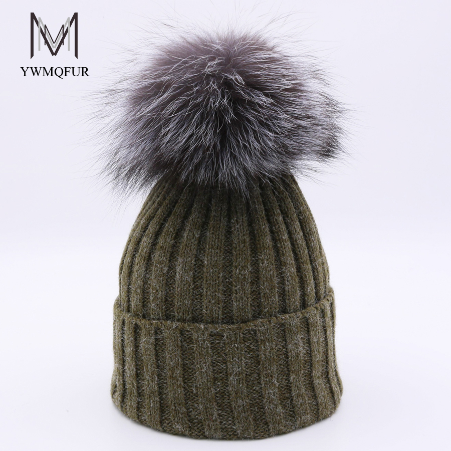 YWMQFUR Rabbit wool hats with really fox fur ball cap pom poms winter hat for women knitted beanies caps female cap gorros H123 купить