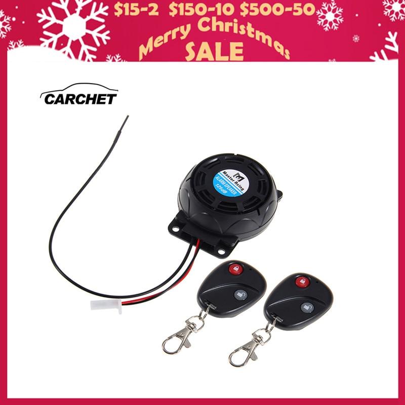 CARCHET Motorsykkelalarm 2 Fjernkontroller Tyverisikringssystem Vibrasjonslås Induksjonsalarm Dual fjernkontrollsensor