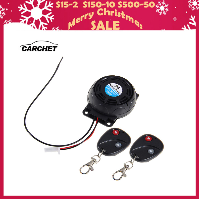 CARCHET รถจักรยานยนต์ปลุก 2 การควบคุมระยะไกลระบบรักษาความปลอดภัยป้องกันการโจรกรรมสั่นสะเทือนล็อคสัญญาณกันขโมย Dual เซ็นเซอร์ควบคุมระยะไกล