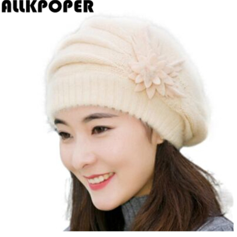 ALLKPOPER New winter Warm Hat For Women Knitted Wool Floral Gorros Skullies & Beanies Elegant Hats Female Ladies Bonnet Enfant velvet thick keep warm winter hat for women rabbit fur knitted beanies ladies female fashion skullies elegant hats for women