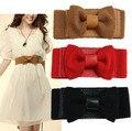 Nuevo Diseño de Moda de Señora Elástico Ancha Strech Pajarita Del Bowknot de La Pretina Blanco Rojo Negro Color Camel
