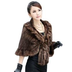 2017  lady's Genuine Knitting Mink Fur Shawls Hottest
