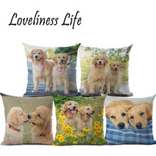 Top Fashion Golden Retriever Cushion Covers Couple Dog 45X45cm Soft Pillow Cases For Chriatmas Home Decorative Cojines Almofadas(China)