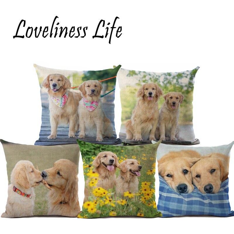 Top Fashion Golden Retriever Cushion Covers Couple Dog 45X45cm Soft Pillow Cases For Chriatmas Home Decorative Cojines Almofadas