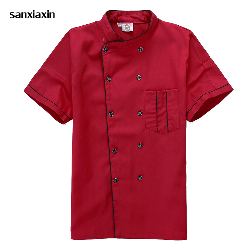 New Unisex Kitchen Hotel Chef Uniform Bakery Food Service Cook Short Sleeve Shirt Breathable Double Breasted Chef Jacket Clothes