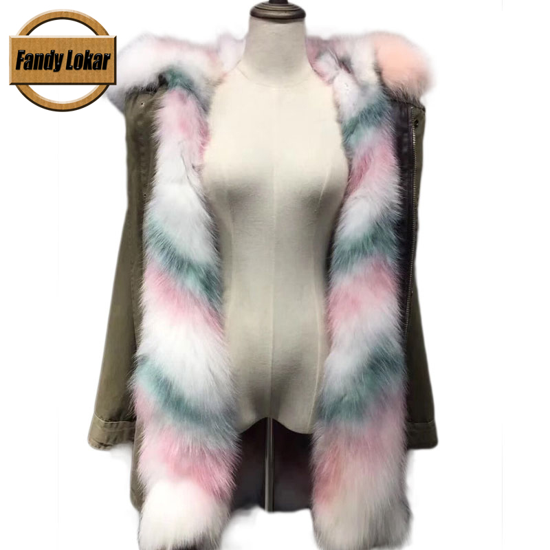 New Colorful Warm Fox Fur Collar Coat Women Winter Real Fox Fur Liner Hooded Jacket Women Bomber Parka Female Ladies FP9115 red shell warm raccoon fur collar coat women winter real fox fur liner hooded jacket women long parka female ladies fp891