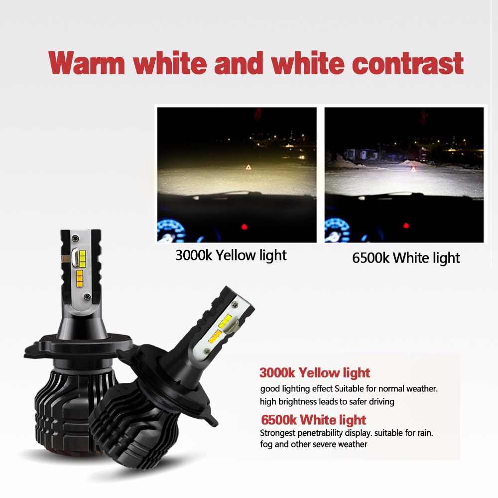 GEETANS H7 H4 LED H11 9005 9006 Car LEDS Light Headlight Bulb Front Lamp 9000LM 80W Dual Color In One Auto External Head Lights