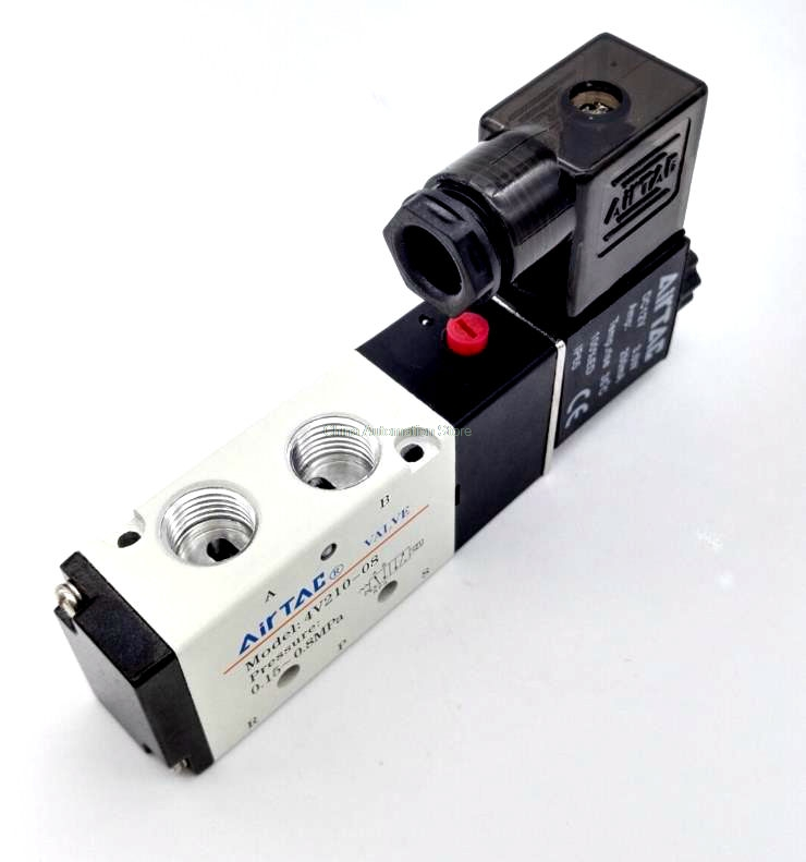 Free Shipping 5 Way 2 Position 1/4'' Airtac Solenoid Valve 4V210-08 DC24V DC12V  AC110V AC220V AC380V 5 way pilot solenoid valve sy3220 3d 01