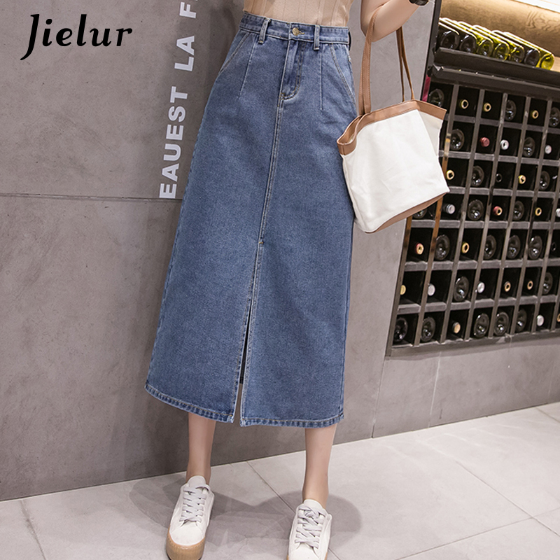 Jielur Women Skirt Demin Korean Style High Waist Skirts Jeans Ladies Plus Size S-5XL Ladies Causal Pockets Faldas Largas Verano