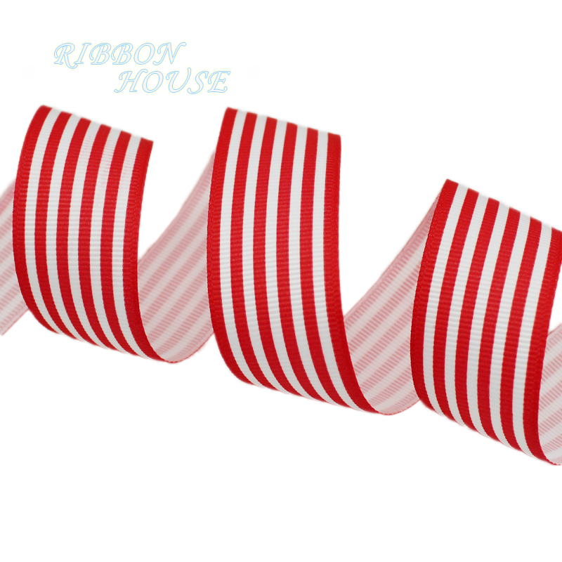 (5 yards/lot) 1'' (25mm) Red and White Stripes grosgrain ...