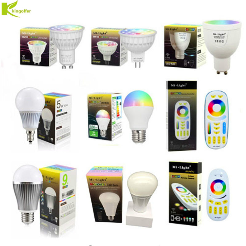 все цены на Mi Light Dimmable Led Bulbs Lamp 4W 5W 6W 9W 12W E27 E14 MR16 GU10 RGBW RGBWW/RGB CCT 2.4G Remote Controller for indoor lighting