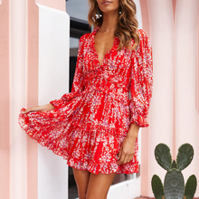цена на Sexy Back Cut Out Floral Chiffon Dress Women's Romantic Boho Holiday Dress Short Summer Skater Dress V Neck Beach Party Dresses