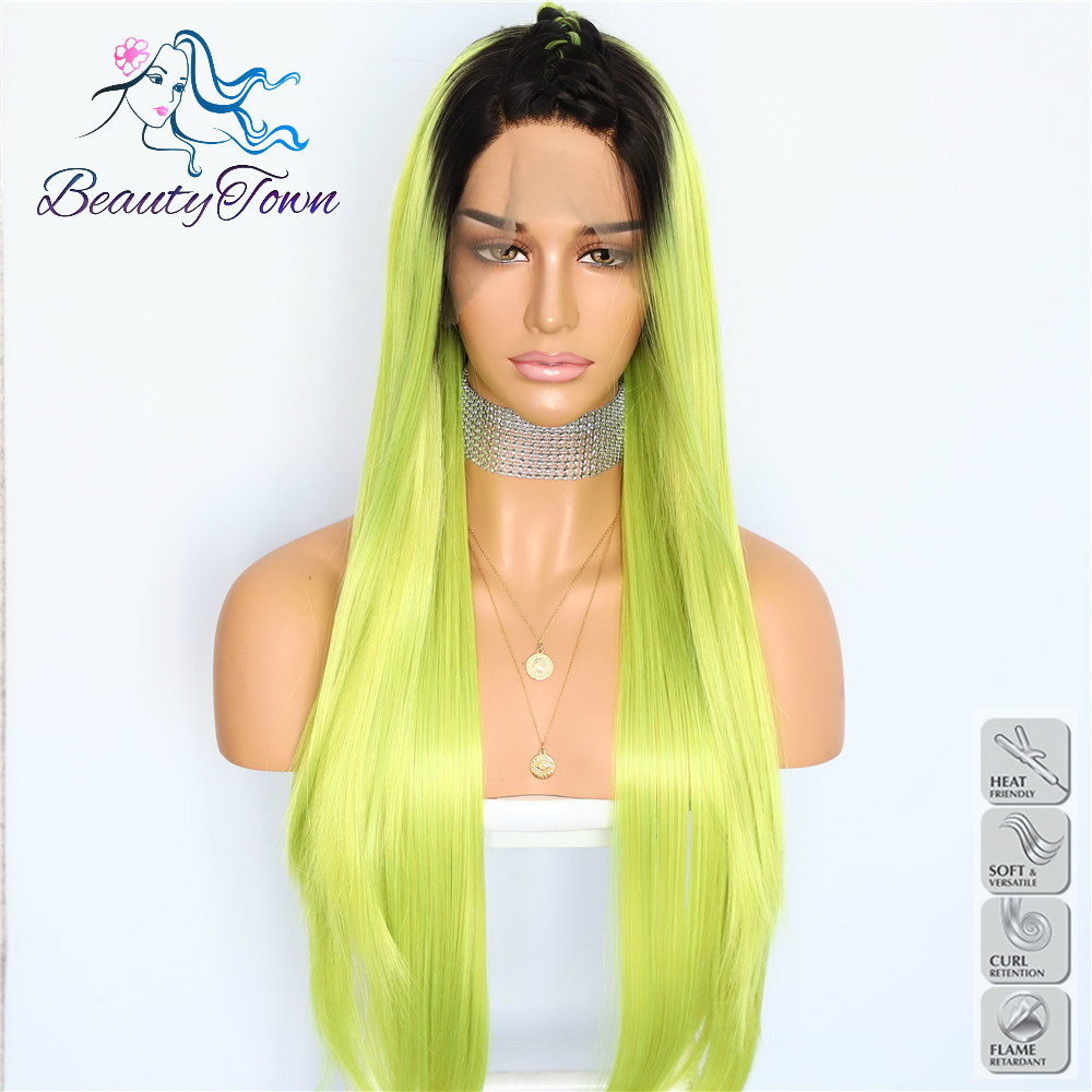 BeautyTown Dark Ombre Green Straight Hand Tied Heat Resistant Fiber Celebrity Queen Girl Wedding Party Synthetic