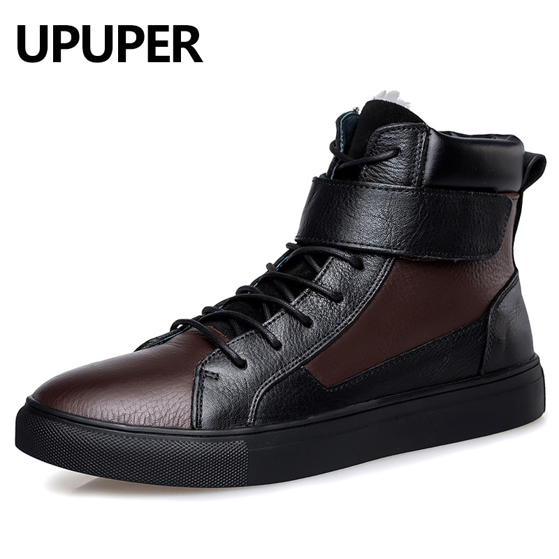 Size 37~48 Genuine Leather Winter Boots Men Keep Warm Plush Men's Ankle Boots Natural Leather Flat Snow Boots For Male Brown стоимость