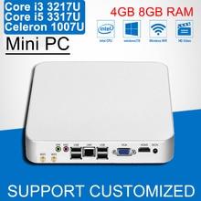 Intel Mini PC Core i3 3217U i5 3317U Celeron 1007U Lüfter Windows 10 Mini Computer Desktop HTPC Gps-navigationsmultimedie Büro Computer