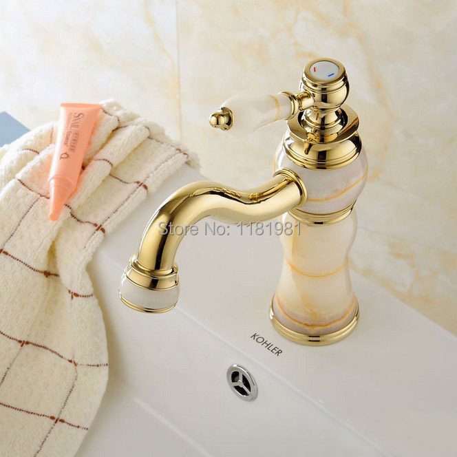 ФОТО Free shipping Copper new European classical gold-plated antique marble basin taps Y8072