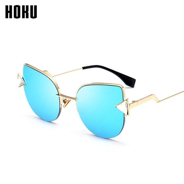 739aeb10203b HOKU New Cat Eye Hot Sell Sunglasses Women Personality Metal Frame Fashion  Sun Glasses Ladies Classic Triangle Diamond W148