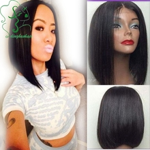 Brazilian Vigin Human Hair Bob Wigs With Baby Hair Glueless Short Straight Lace Front Wigs Full Lace Wigs For Black Woman