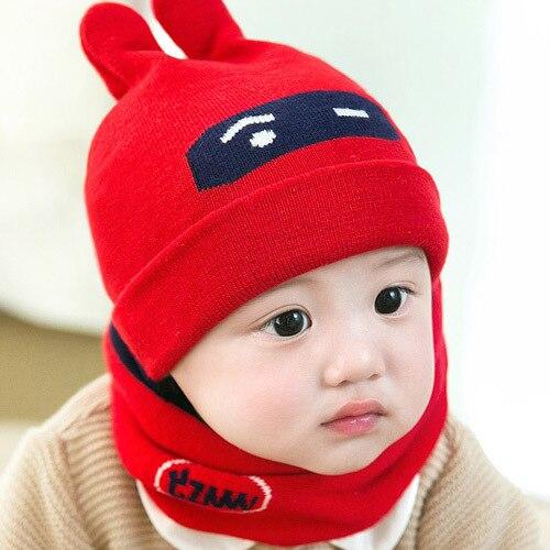 Super Soft Cute Infant Baby Knit Hat Scarf Set 2 Pcs Newborn Boys Girls Beanies Hat Neck Warmer 6-24M